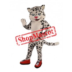 Happy Snow Leopard Mascot Costume