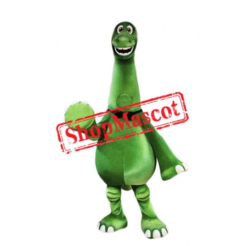 Happy Green Dinosaur Mascot Costume