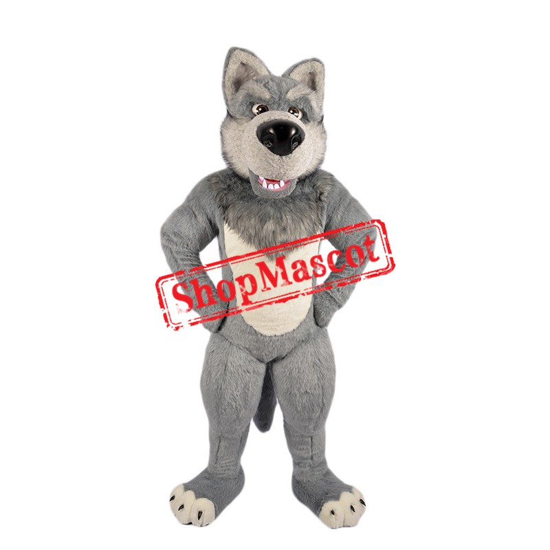 Grey Furry Wolf Mascot Costume
