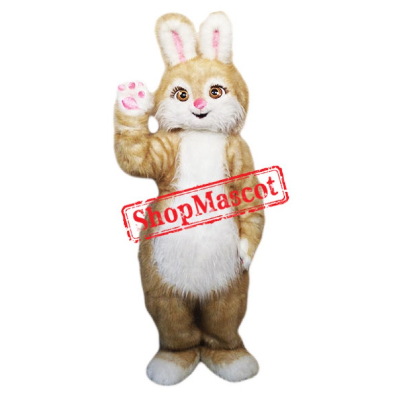 Brown Pink Bunny Mascot Costume
