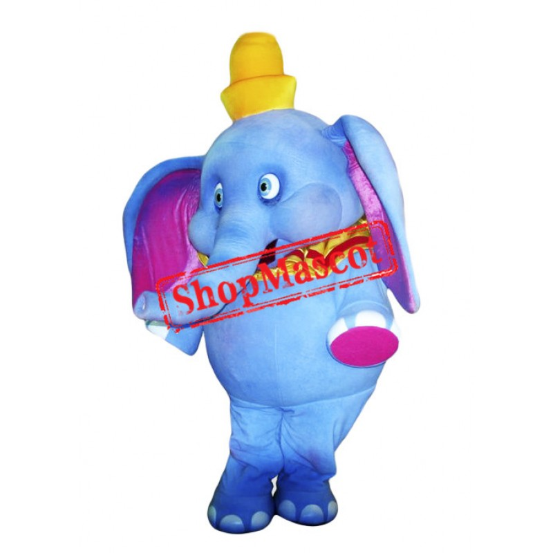 Super Cute Blue Elephant Mascot Costume
