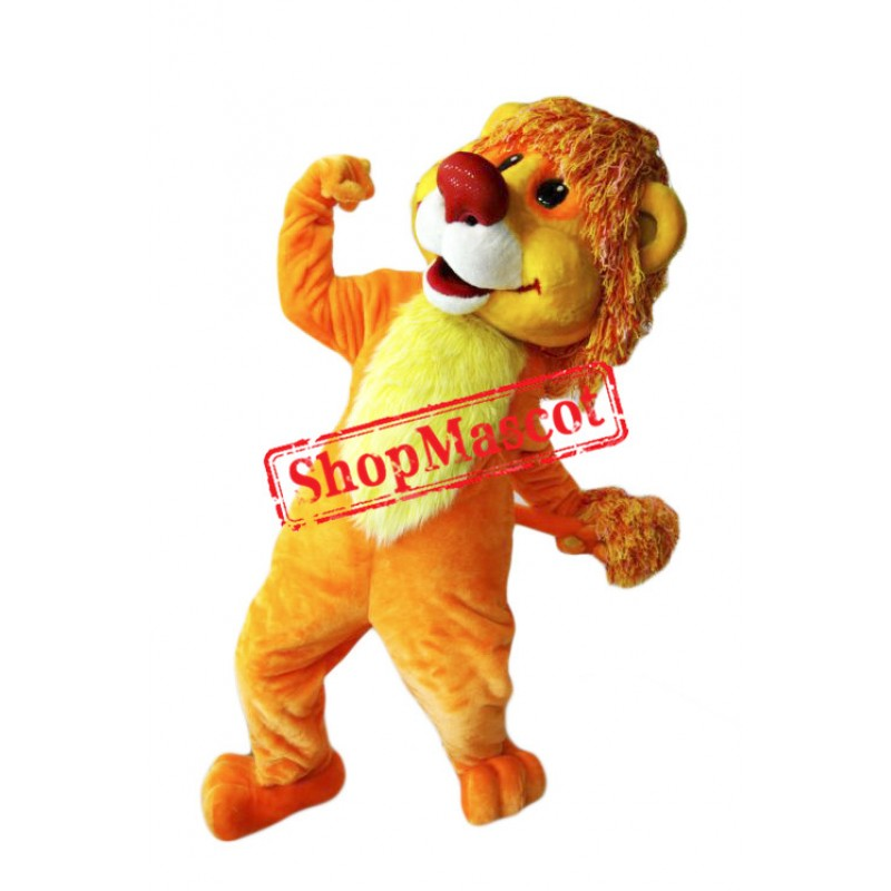 Smiling Lion Mascot Costume