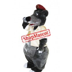 Happy Lightweight Grey Bear Mascot Costume