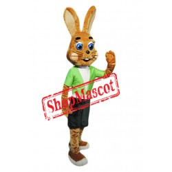 Friendly Brown Rabbit Mascot Costume