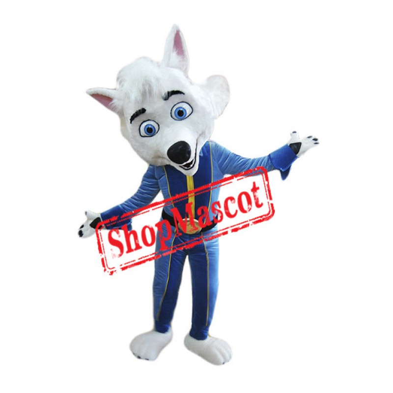 Friendly White Fox Mascot Costume