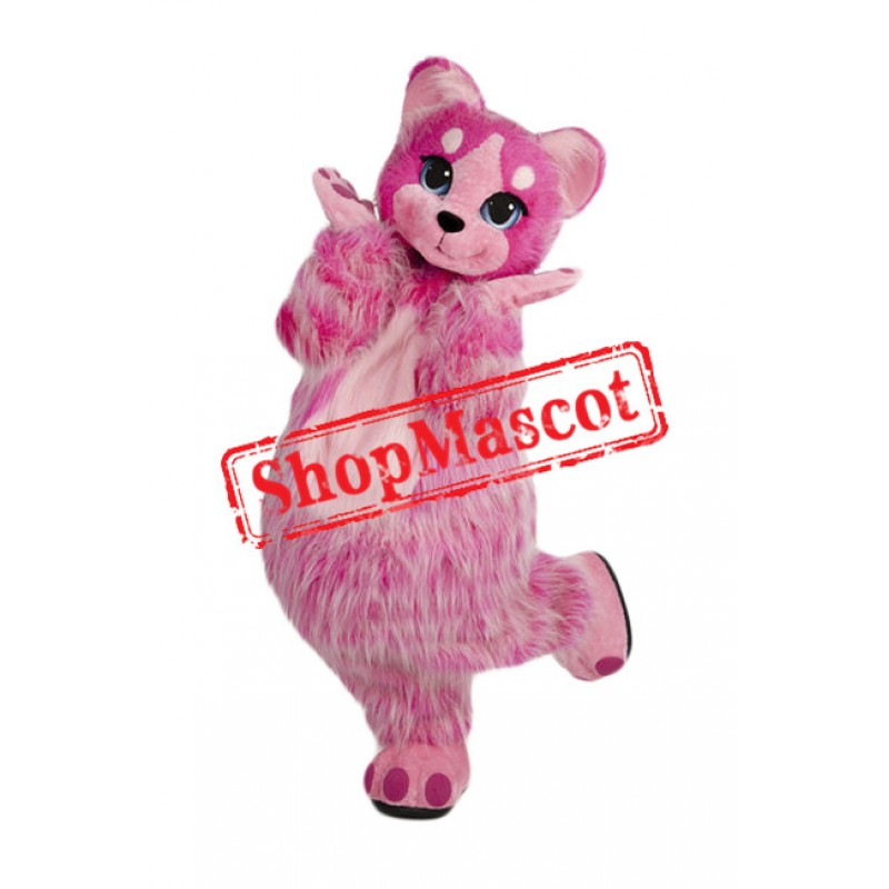 Pink Furry Cat Mascot Costume
