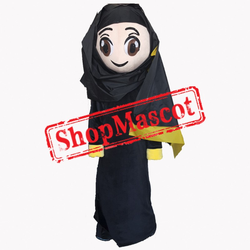 Black Clothes Arab Girl Mascot Costume