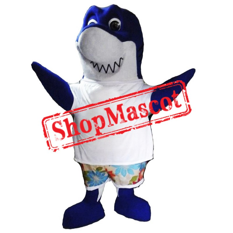 Cute Blue Shark Mascot Costume