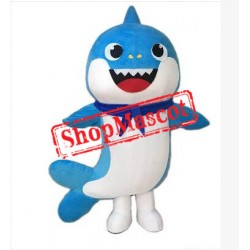 Blue Baby Shark Mascot Costume
