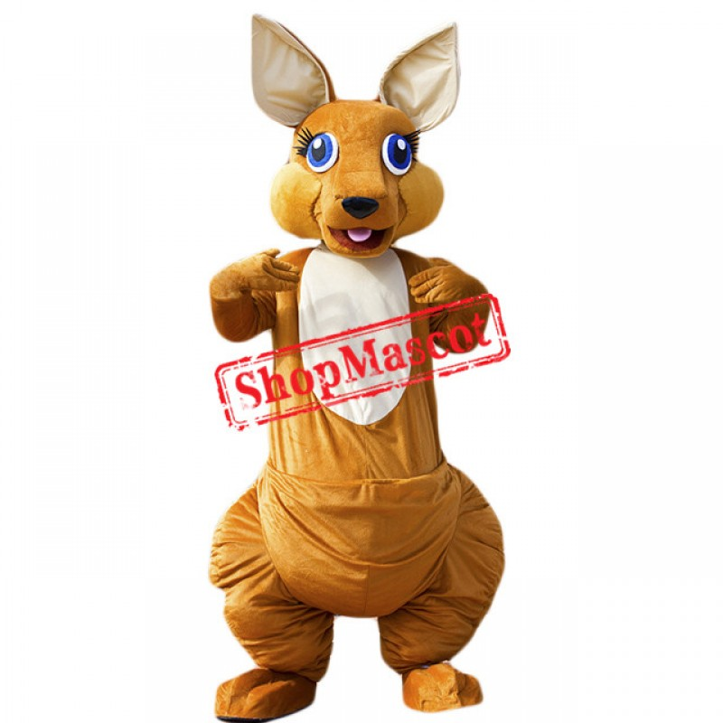 Happy Lightweight Kangaroo Mascot Costume