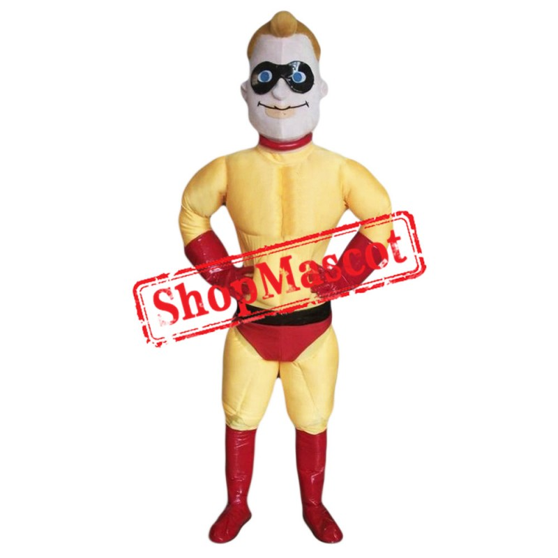Yellow Superhero Mascot Costume