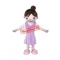 Cute Purple Dress Girl Mascot Costume