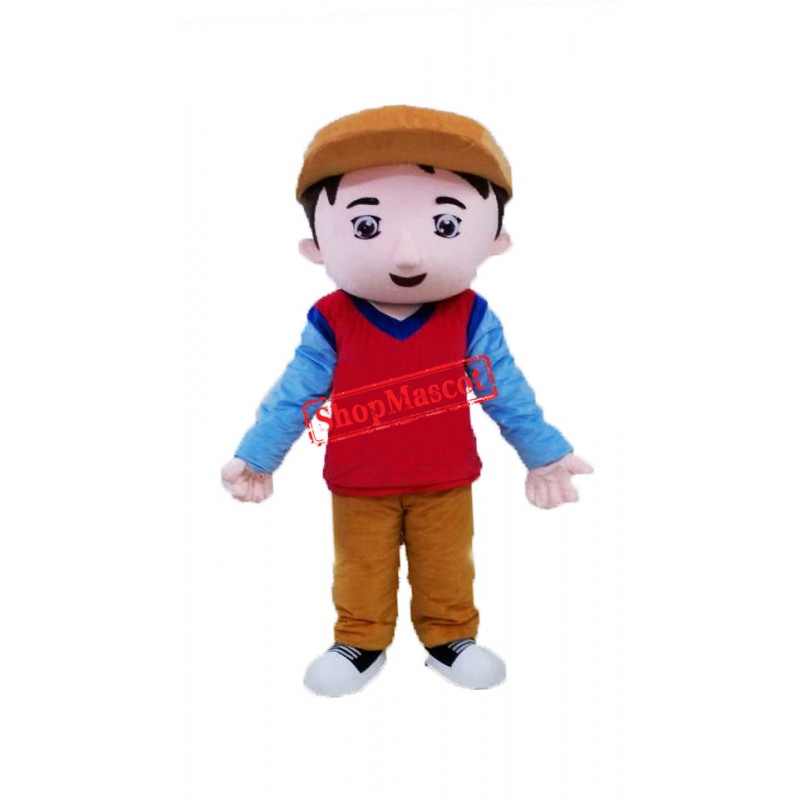 Brown Hat Boy Mascot Costume
