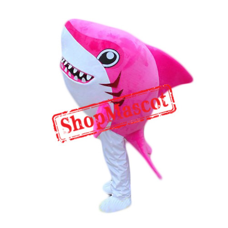 Cute Pink Shark Mascot Costume