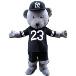 Grey Teddy Bear Mascot Costume