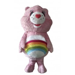 Pink Care Rainbow Bear Character Mascot Costume