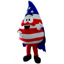 US Flag Print Water Drop Mascot Costume