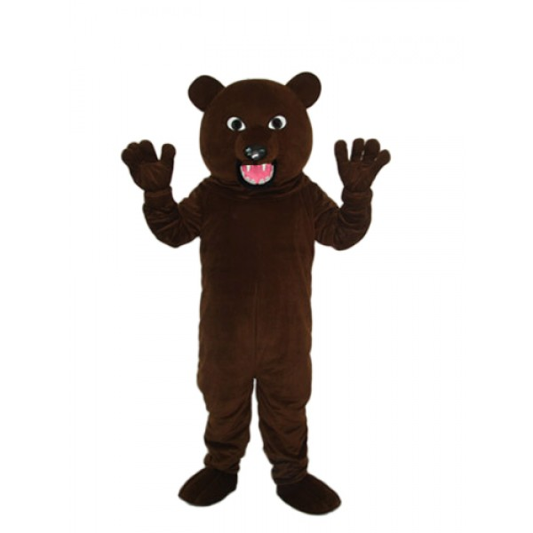 Brown Bear with Sharp Tooth Mascot Adult Costume