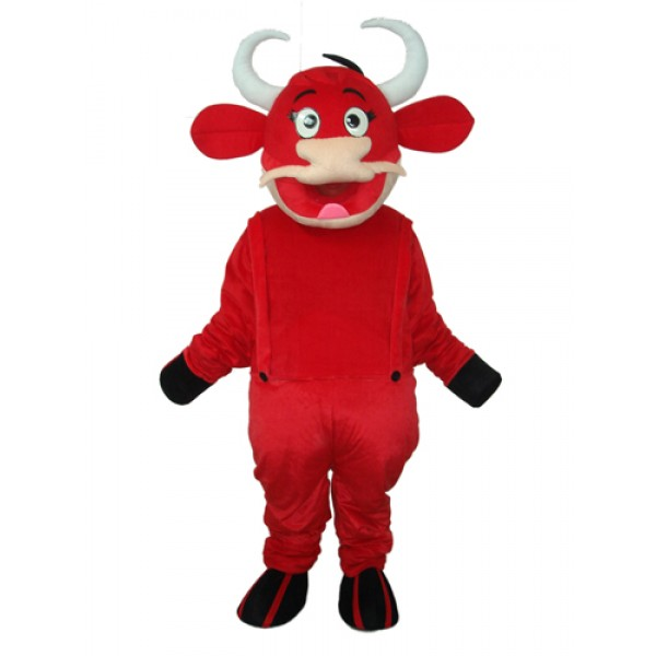 2nd Version Red Cow Mascot Adult Costume Free Shipping