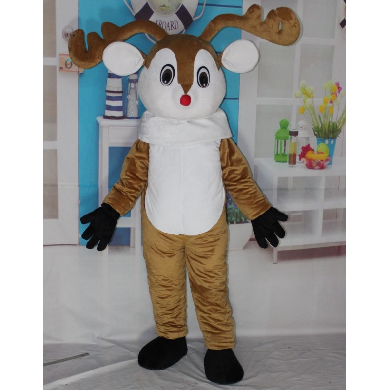 Red Nose Deer Mascot Costume Adult Deer Costume Free Shipping