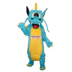 Blue Yellow Serrated Teeth Dragon Mascot Adult Costume Free Shipping