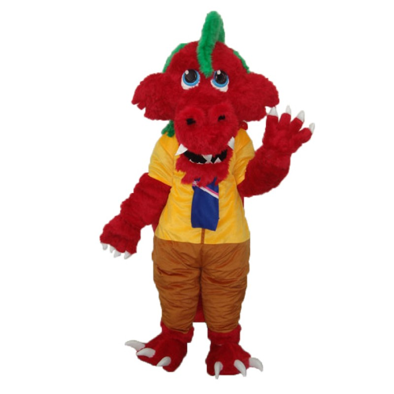 Long Wool Red Dragon Mascot Adult Costume Free Shipping