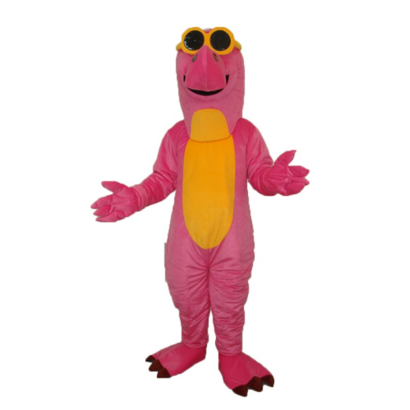 Pink Dinosaur with Glasses Mascot Adult Costume Free Shipping