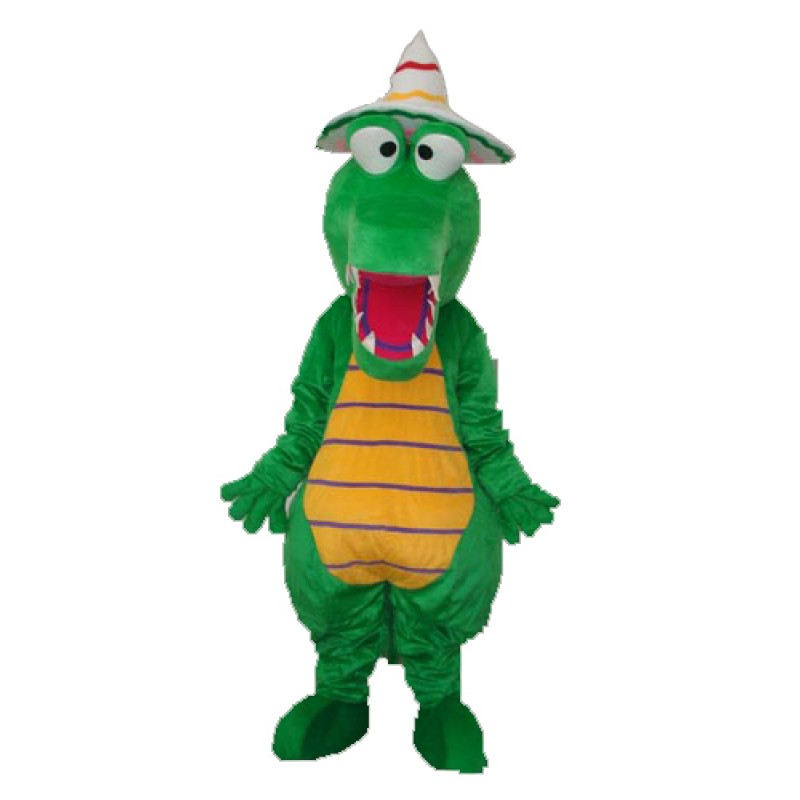 Crocodile with Hat Mascot Adult Costume Free Shipping