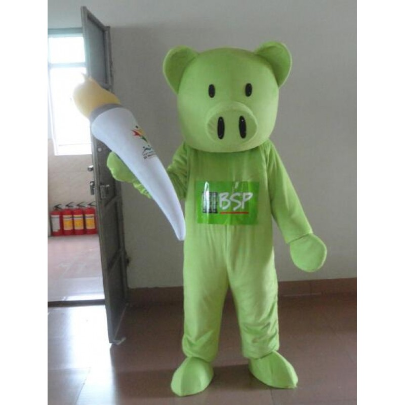 Green Pig Mascot Costume Adult Costume Free Shipping