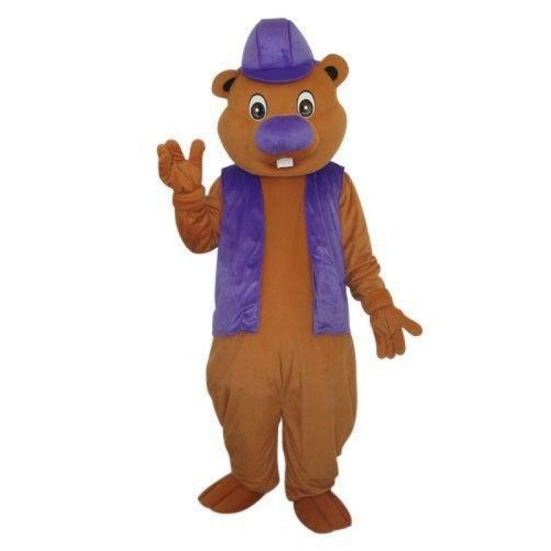 Beaver In Purple Hat Mascot Costume