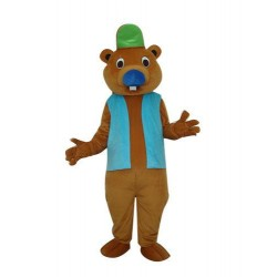 Brown Beaver W Big Tail Mascot Costume