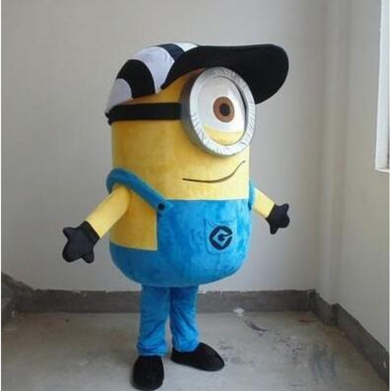 One Eye Despicable Me Minion with Hat Mascot Costume