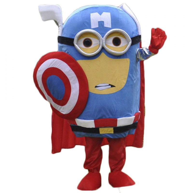Captain America Minion Mascot Costume for Adults