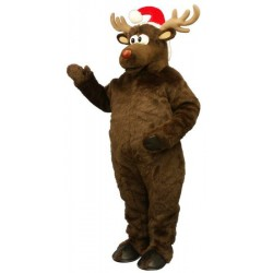 Cute Brown Mascot Costume Deer with Santa Hat