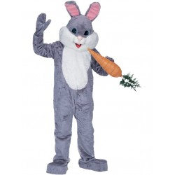 Grey Plush Bunny Mascot Costume Free Shipping