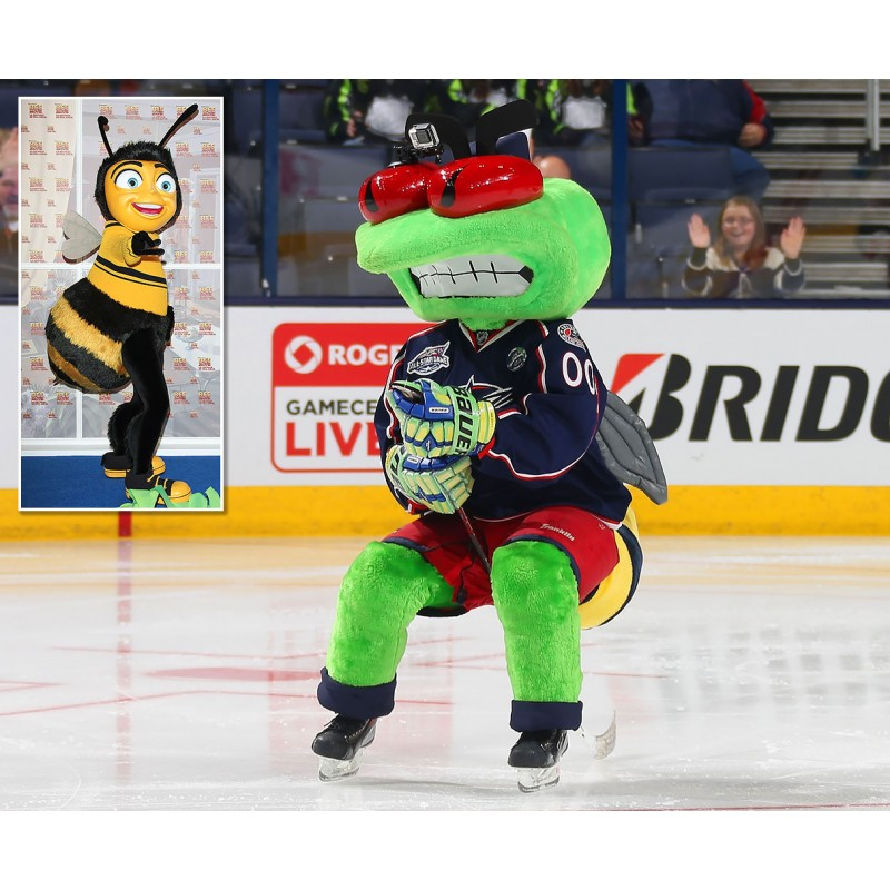 Columbus Blue Jackets mascot Stinger inset Bee Movie Barry