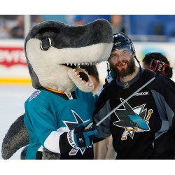San Jose Sharks Mascot SJ Sharkie Brent Burns