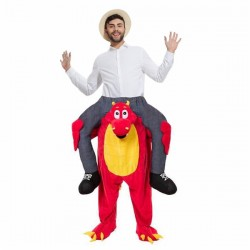 Red Dinosaur Costume Ride On Me Mascot Fancy Dress