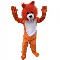 Plush Orange Wolf Mascot Costume