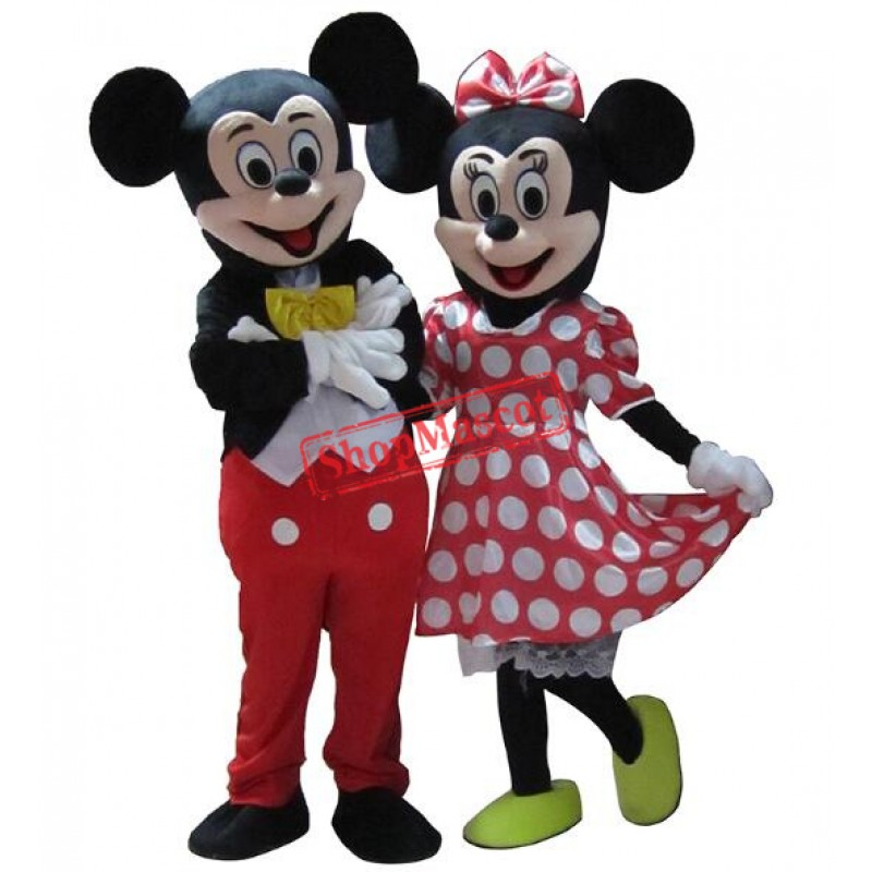 Hot Sale For Mickey and Minnie Mouse Adult Mascot Costume Two Pieces