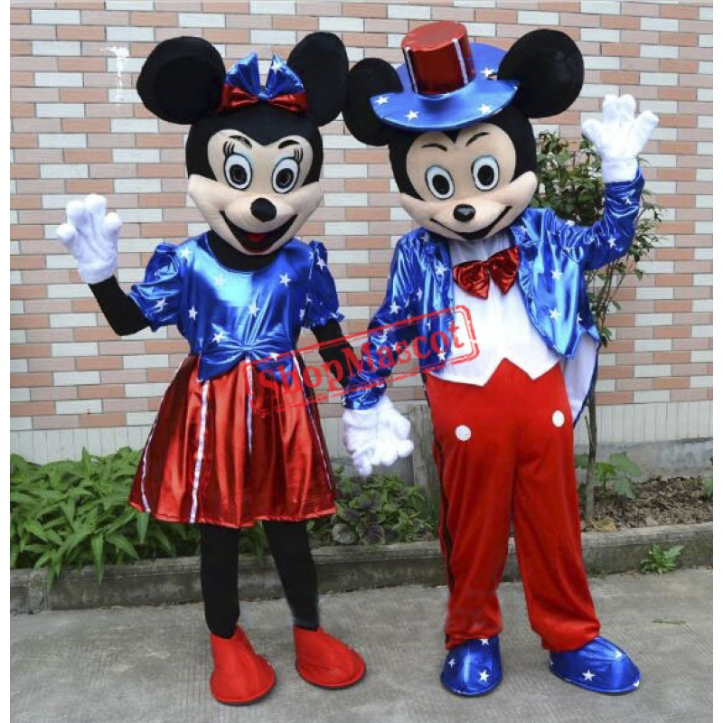 U.S Flag Mickey And Minnie Mouse Mascot Costume Two Piece