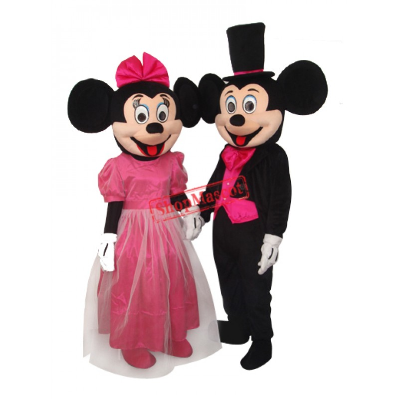 2nd Version Mickey and Minnie Mouse Full Dress Mascot Adult Costume