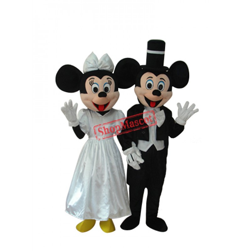 Evening Dress Mickey and Minnie Mascot Adult Costumes two piece
