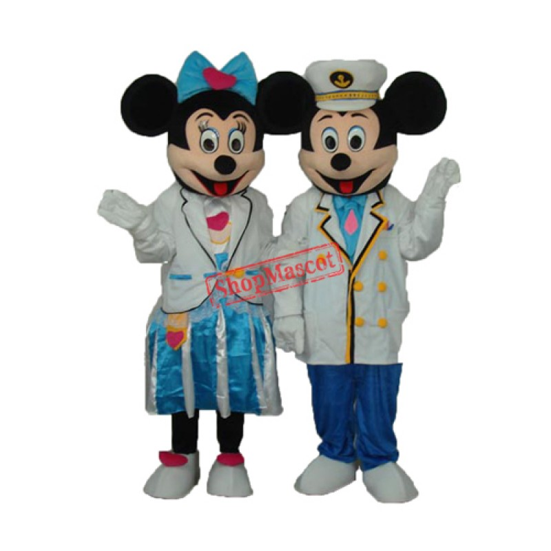 Navy Mickey and Minnie Mascot Adult Costume