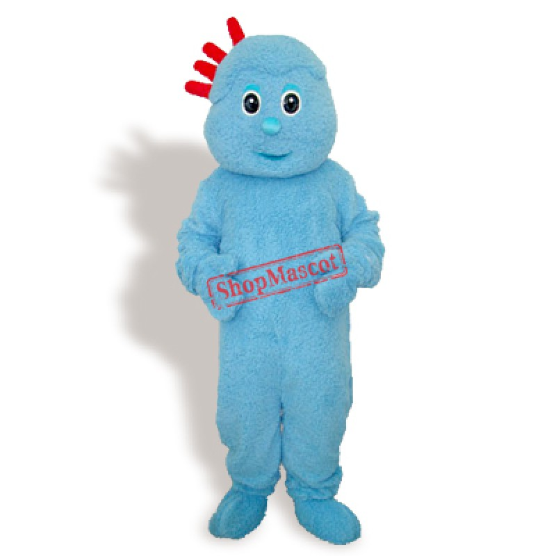 Blue Plush Little Boy Adult Mascot Costume