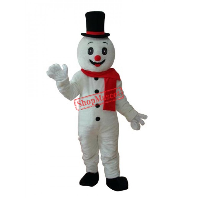 Snowman with Black Hat Mascot Adult Costume