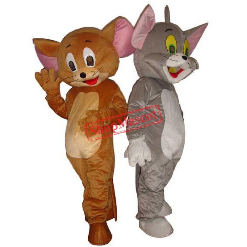 Jerry Mouse & Tom Cat costume Cartoon Mascot Costume Free Shipping