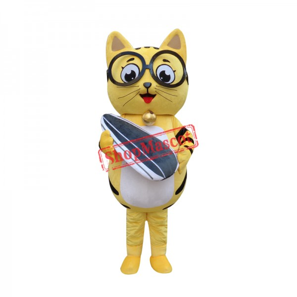 Yellow Cat Mascot Adult Costume Free Shipping