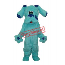 2nd Version Long Hair Blue Dog Mascot Adult Costume Free Shipping