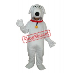 White Dog with Necklet Mascot Adult Costume Free Shipping